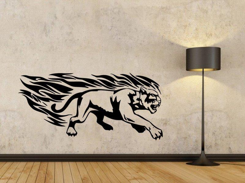 Samolepky na zeď Tygr s plameny 004 - Samolepící dekorace a nálepka na stěnu