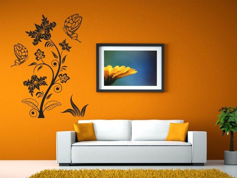Samolepky na zeď Květiny s motýly 016 - Samolepící dekorace a nálepka na stěnu