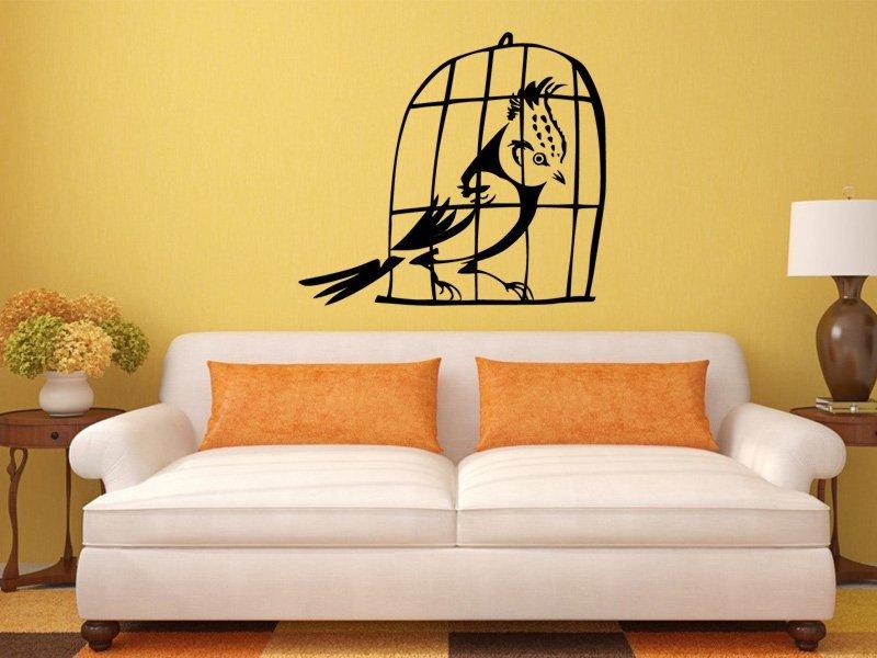 Samolepky na zeď Ptáci v kleci 002 - Samolepící dekorace a nálepka na stěnu