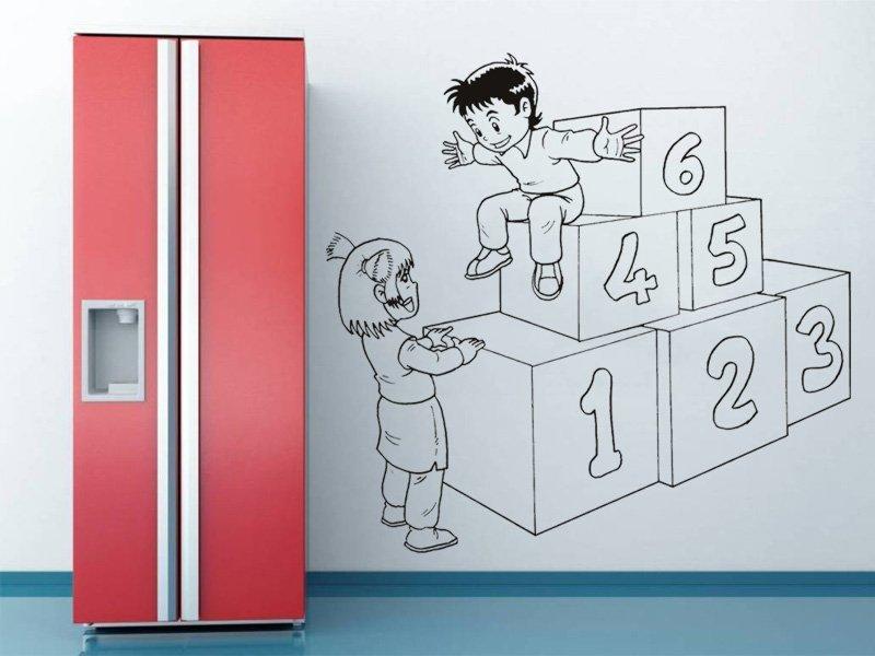Samolepky na zeď Hravé děti 001 - Samolepící dekorace a nálepka na stěnu