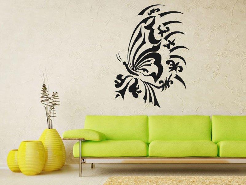 Samolepky na zeď Květiny s motýly 003 - Samolepící dekorace a nálepka na stěnu
