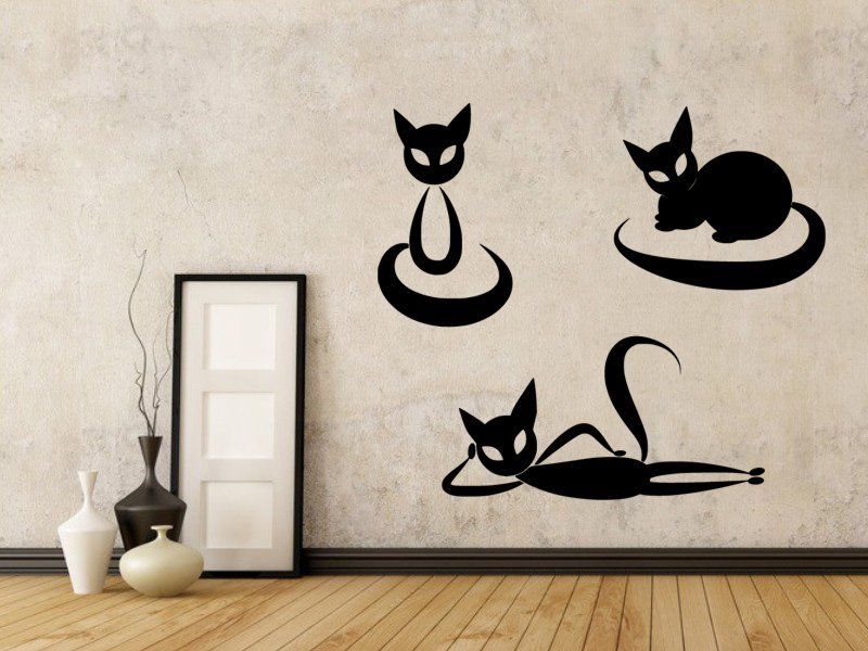 Samolepky na zeď Sada koček 0455 - Samolepící dekorace a nálepka na stěnu