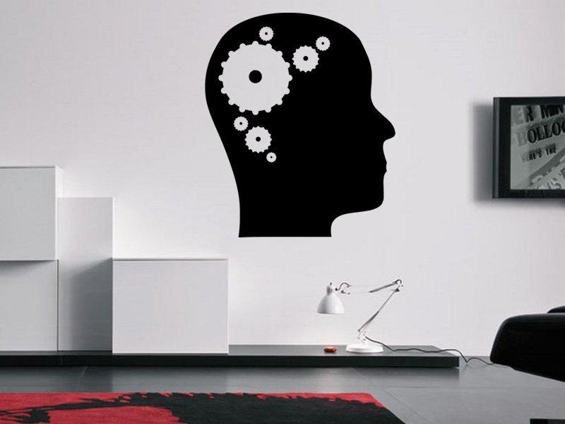 Samolepky na zeď Hlava s ozubenými koly 0244 - Samolepící dekorace a nálepka na stěnu