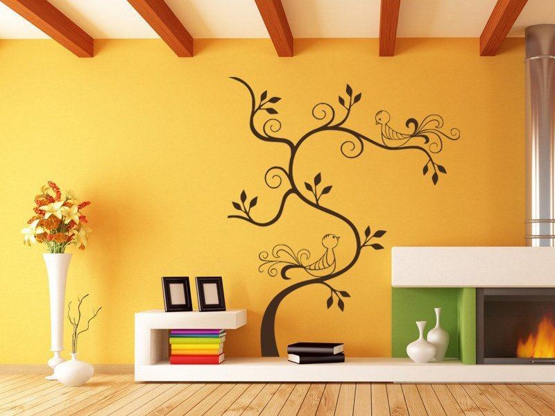 Samolepky na zeď Větev s ptáky 009 - Samolepící dekorace a nálepka na stěnu