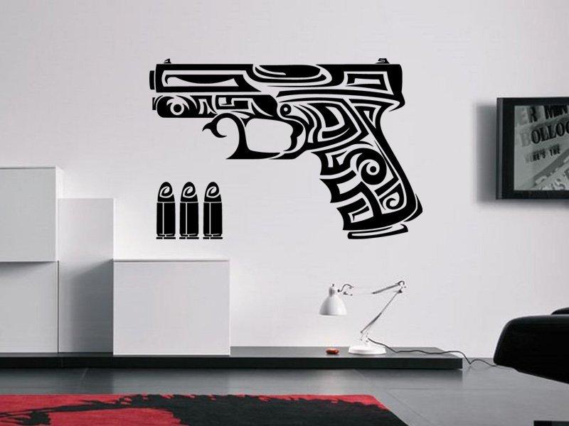 Samolepky na zeď Pistole 0238 - Samolepící dekorace a nálepka na stěnu