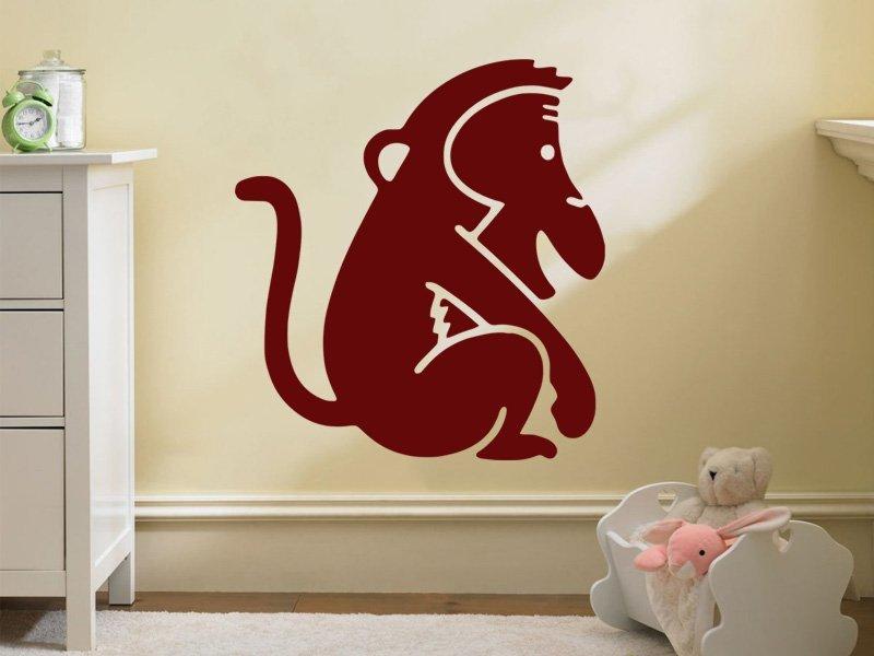 Samolepky na zeď Opička 005 - Samolepící dekorace a nálepka na stěnu
