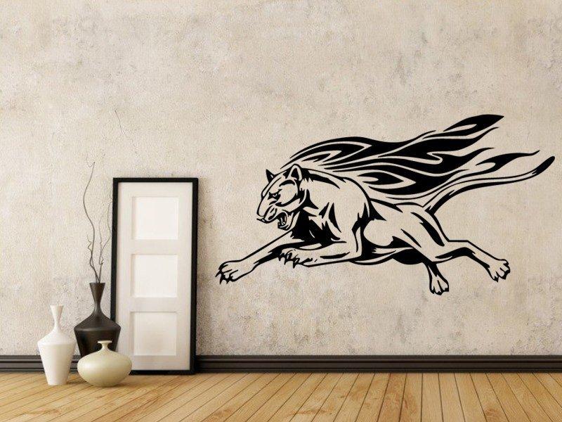 Samolepky na zeď Tygr s plameny 001 - Samolepící dekorace a nálepka na stěnu