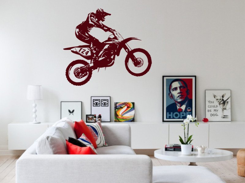 Samolepky na zeď Motorka 008 - Samolepící dekorace a nálepka na stěnu