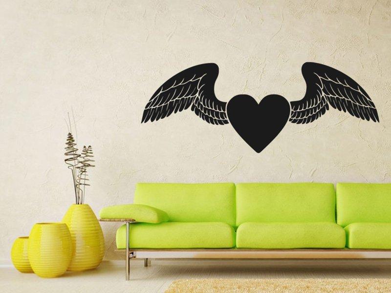 Samolepky na zeď Srdce s křídly 0268 - Samolepící dekorace a nálepka na stěnu