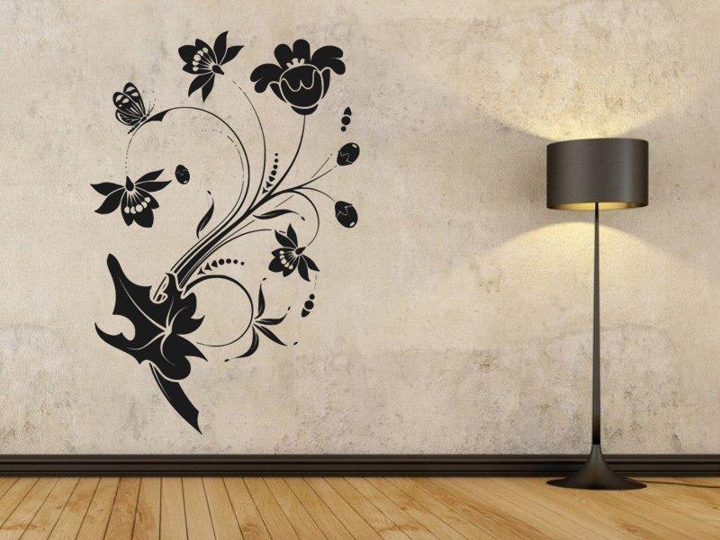 Samolepky na zeď Květiny s motýly 013 - Samolepící dekorace a nálepka na stěnu