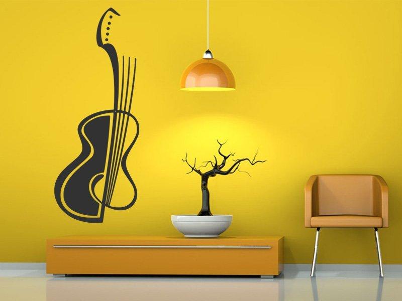 Samolepky na zeď Kytara 008 - Samolepící dekorace a nálepka na stěnu