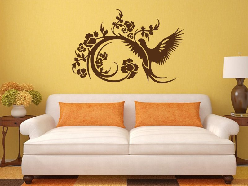Samolepky na zeď Větev s ptáky 003 - Samolepící dekorace a nálepka na stěnu