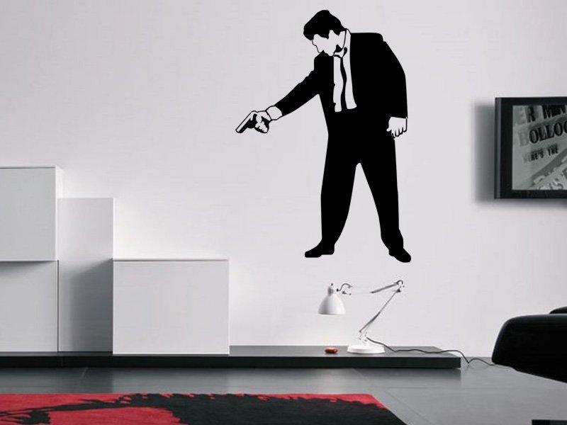 Samolepky na zeď Muž s pistolí 001 - Samolepící dekorace a nálepka na stěnu