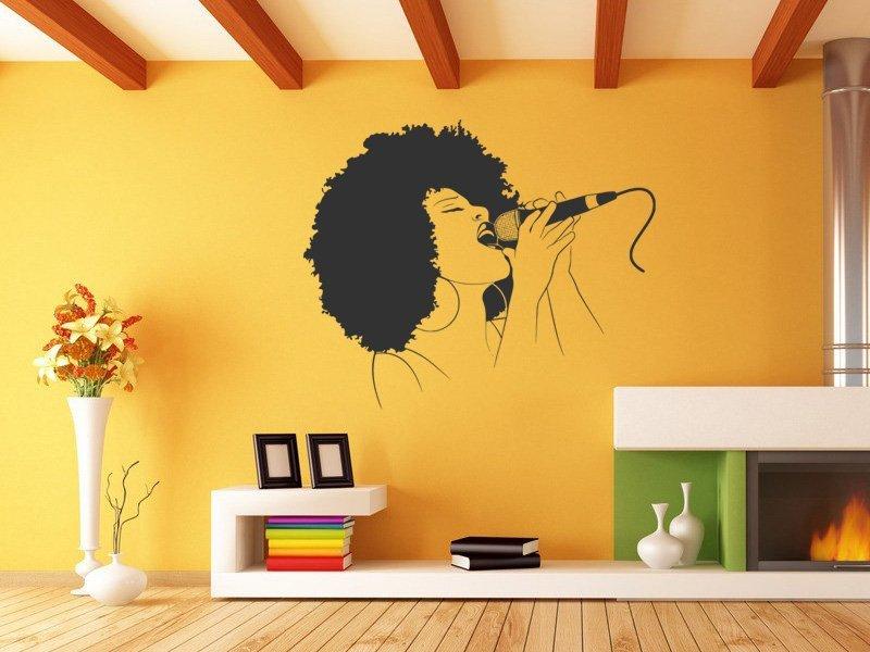 Samolepky na zeď Zpěvačka 001 - Samolepící dekorace a nálepka na stěnu