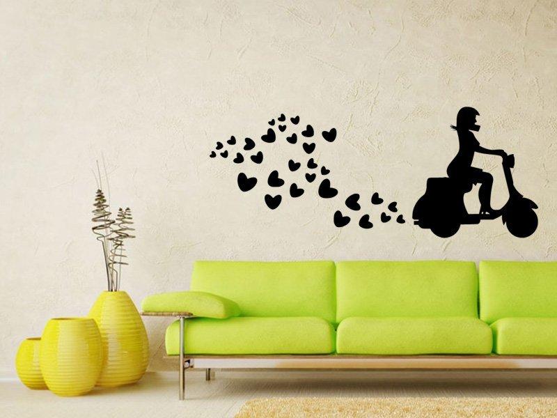 Samolepky na zeď Scooter se srdíčky 0310 - Samolepící dekorace a nálepka na stěnu