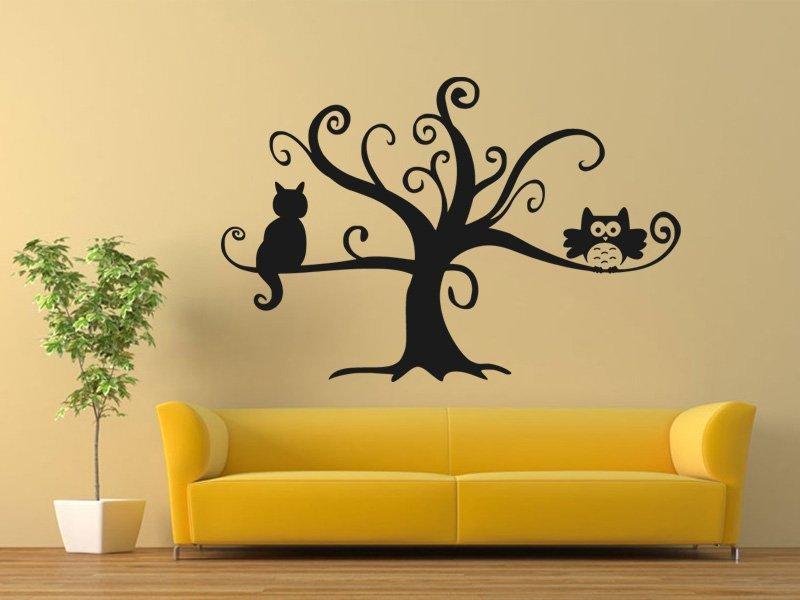 Samolepky na zeď Kočka na stromě 0442 - Samolepící dekorace a nálepka na stěnu