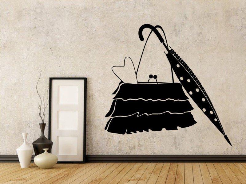 Samolepky na zeď Kabelka a deštník 0239 - Samolepící dekorace a nálepka na stěnu