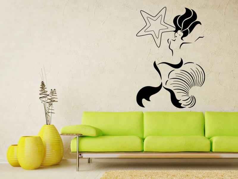 Samolepky na zeď Mořská panna 0281 - Samolepící dekorace a nálepka na stěnu