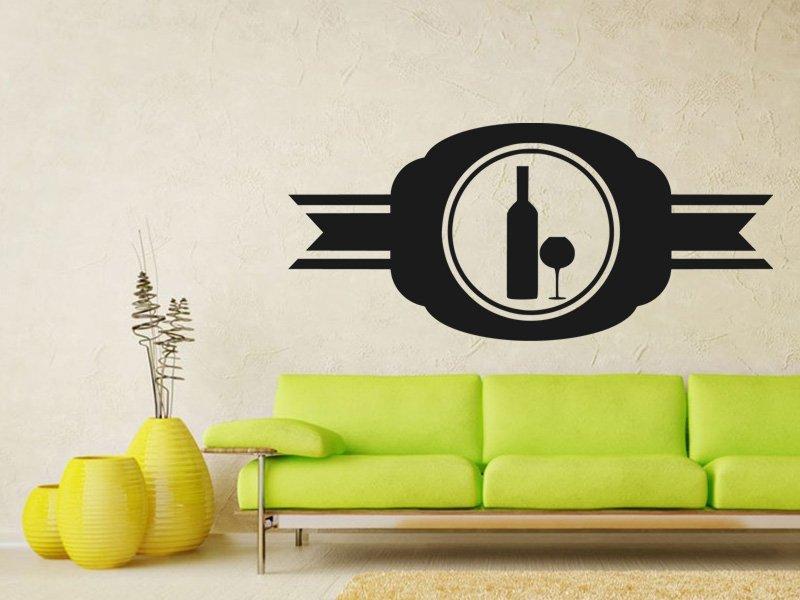 Samolepky na zeď Lahev vína 0080 - Samolepící dekorace a nálepka na stěnu