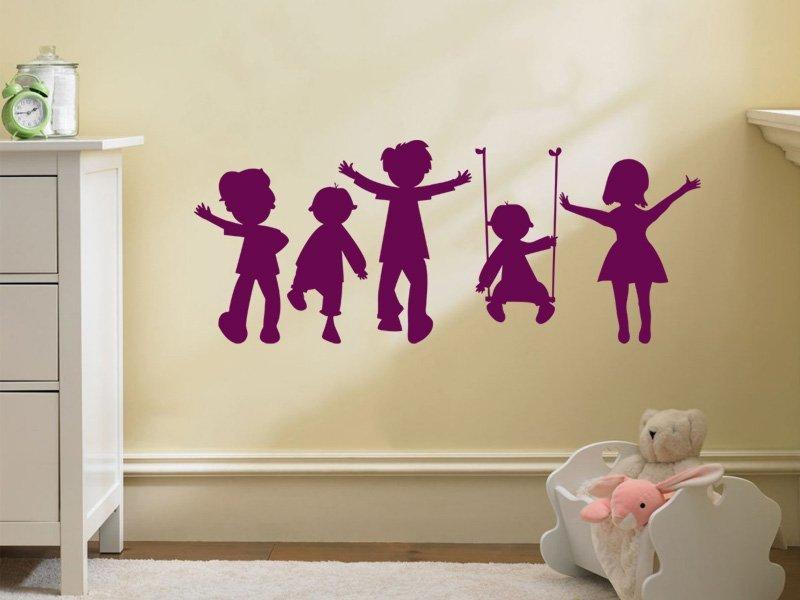 Samolepky na zeď Hravé děti 002 - Samolepící dekorace a nálepka na stěnu