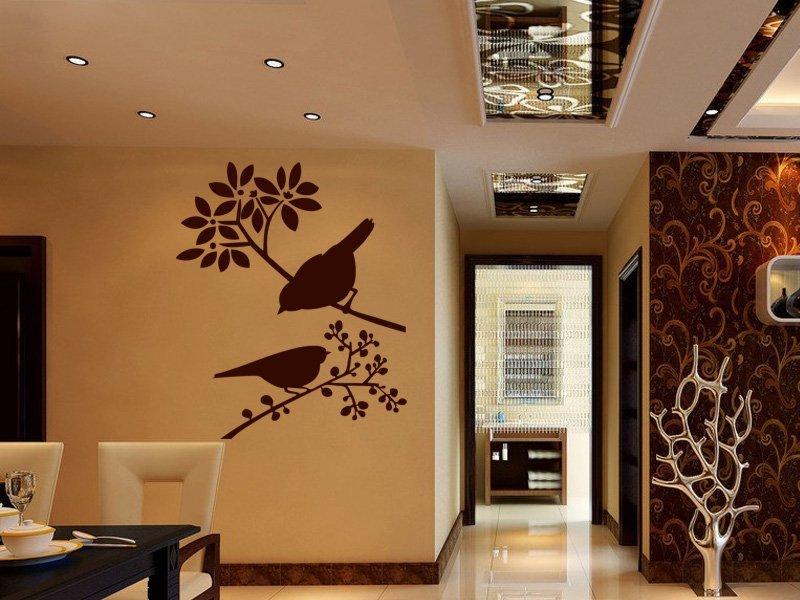 Samolepky na zeď Ptáci na větvích 001 - Samolepící dekorace a nálepka na stěnu
