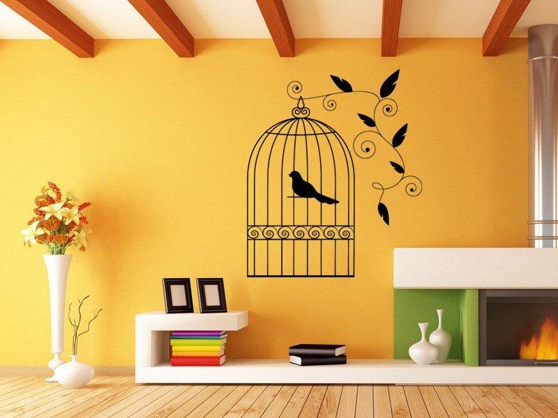 Samolepky na zeď Ptáci v kleci 003 - Samolepící dekorace a nálepka na stěnu