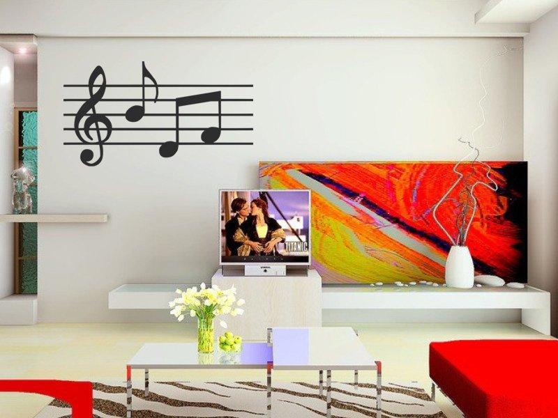 Samolepky na zeď Noty 012 - Samolepící dekorace a nálepka na stěnu
