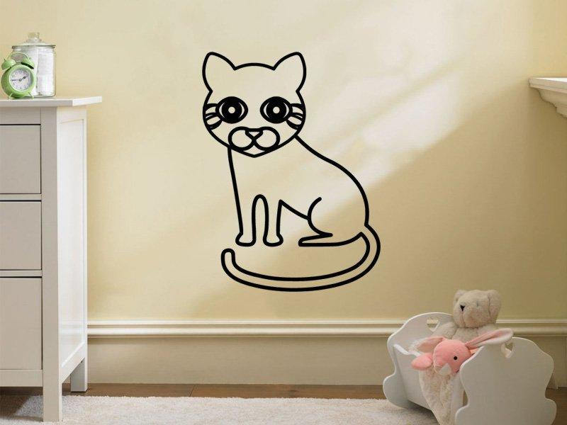 Samolepky na zeď Kočička 0536 - Samolepící dekorace a nálepka na stěnu