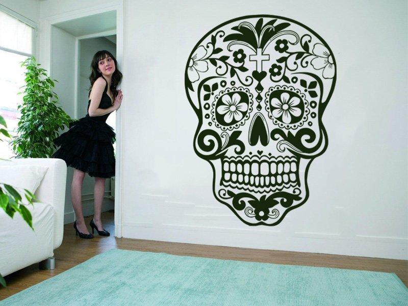 Samolepky na zeď Květinová lebka 001 - Samolepící dekorace a nálepka na stěnu