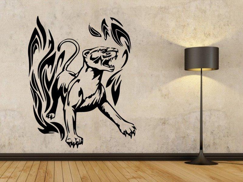 Samolepky na zeď Tygr s plameny 002 - Samolepící dekorace a nálepka na stěnu