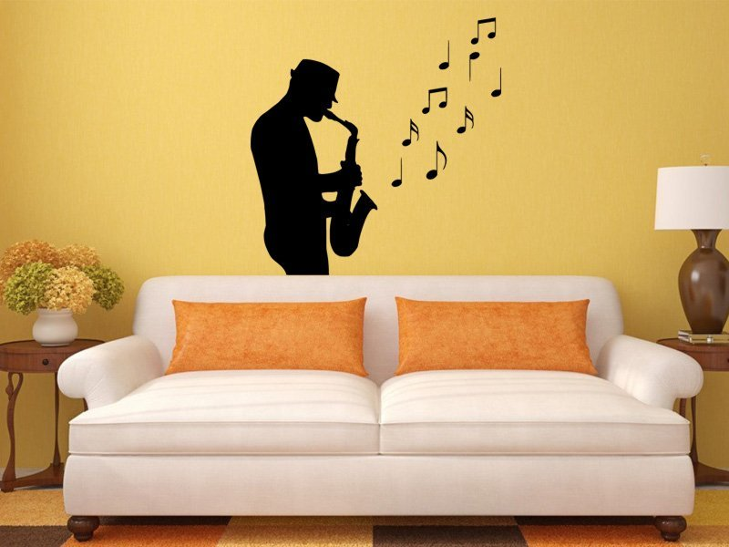 Samolepky na zeď Saxofonista 001 - Samolepící dekorace a nálepka na stěnu