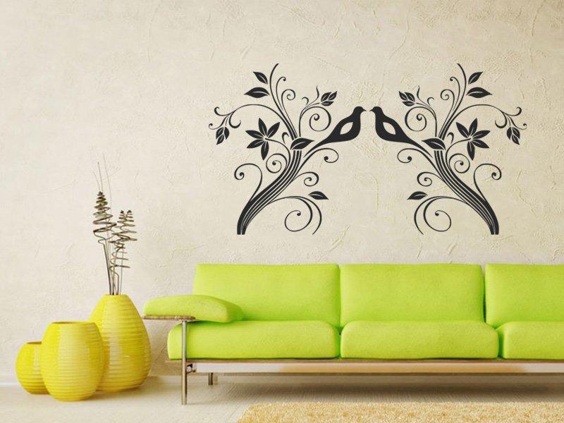 Samolepky na zeď Větev s ptáky 007 - Samolepící dekorace a nálepka na stěnu