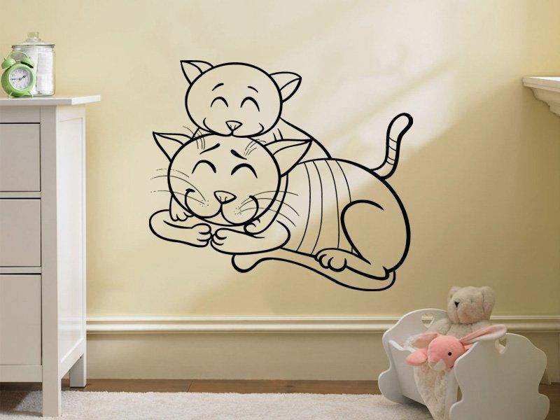 Samolepky na zeď Dvě kočičky 0532 - Samolepící dekorace a nálepka na stěnu