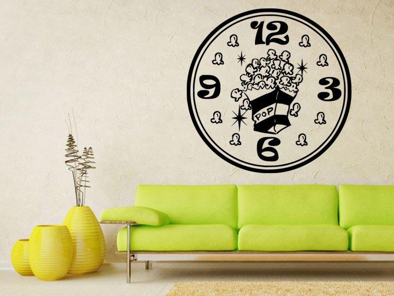 Samolepky na zeď Hodiny popcorn 0128 - Samolepící dekorace a nálepka na stěnu