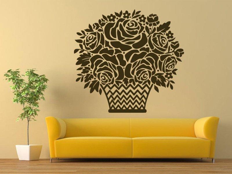 Samolepky na zeď Košík s růžemi 001 - Samolepící dekorace a nálepka na stěnu