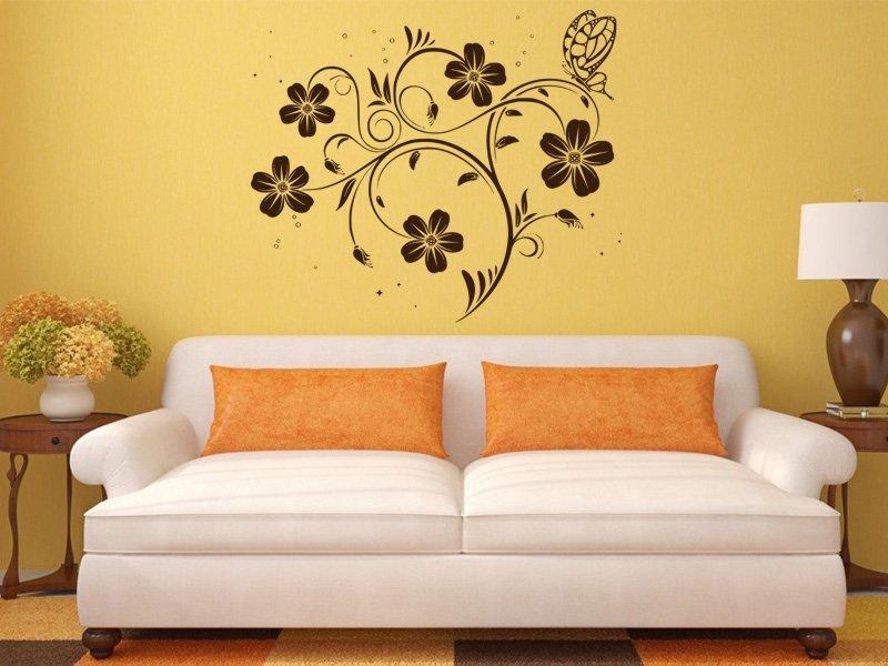 Samolepky na zeď Květiny s motýly 017 - Samolepící dekorace a nálepka na stěnu