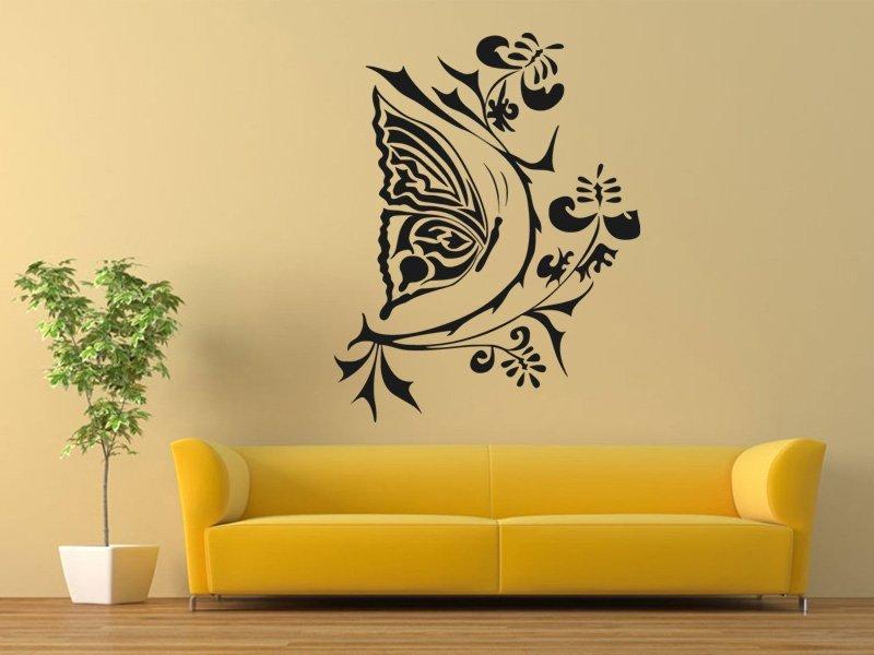 Samolepky na zeď Květiny s motýly 004 - Samolepící dekorace a nálepka na stěnu
