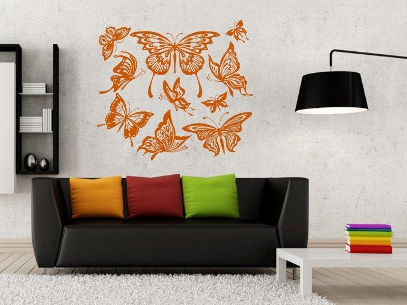 Samolepky na zeď Sada motýlů 001 - Samolepící dekorace a nálepka na stěnu