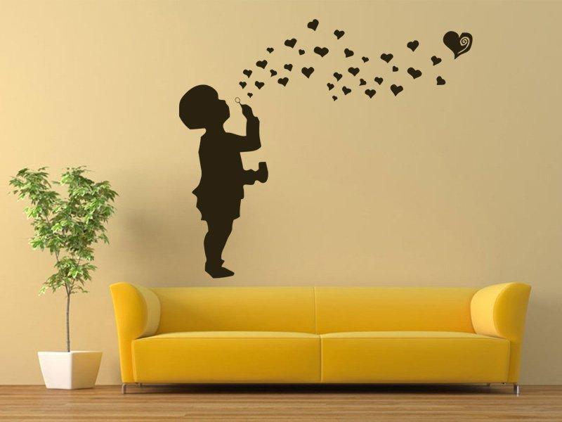 Samolepky na zeď Dítě s bublifukem 001 - Samolepící dekorace a nálepka na stěnu