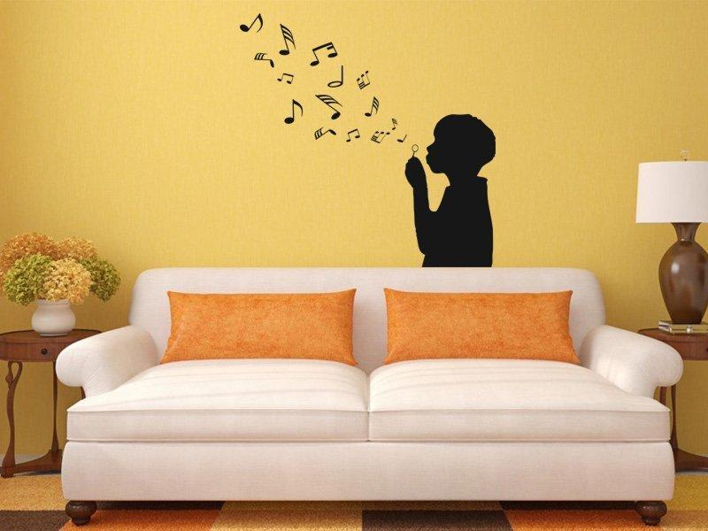 Samolepky na zeď Dítě s bublifukem 002 - Samolepící dekorace a nálepka na stěnu