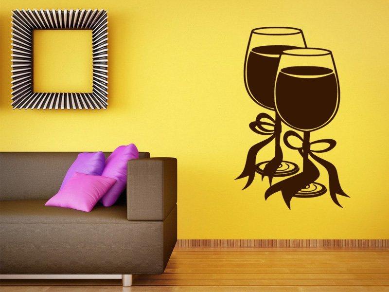 Samolepky na zeď Sklenice vína 0032 - Samolepící dekorace a nálepka na stěnu