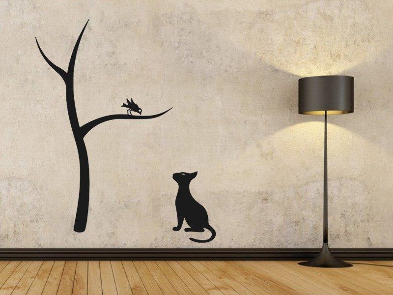 Samolepky na zeď Kočka a strom 0441 - Samolepící dekorace a nálepka na stěnu