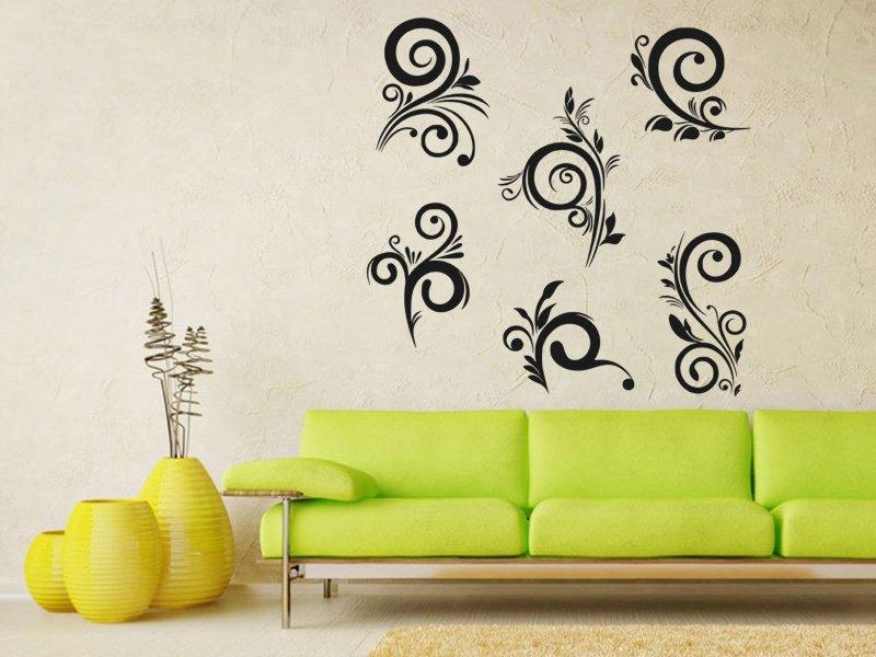 Samolepky na zeď Ornamenty z rostlin 042 - Samolepící dekorace a nálepka na stěnu