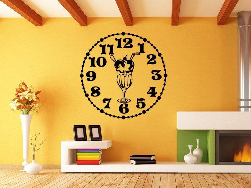 Samolepky na zeď Hodiny pohár 0127 - Samolepící dekorace a nálepka na stěnu