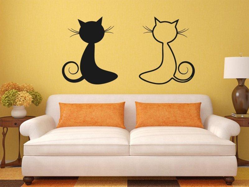 Samolepky na zeď Dvě kočky 0447 - Samolepící dekorace a nálepka na stěnu
