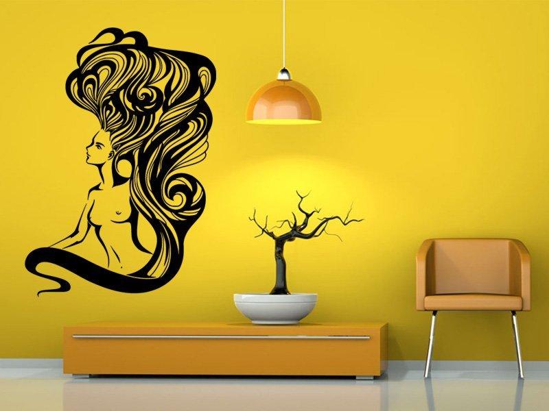 Samolepky na zeď Nahá žena s dlouhými vlasy 1094 - Samolepící dekorace a nálepka na stěnu