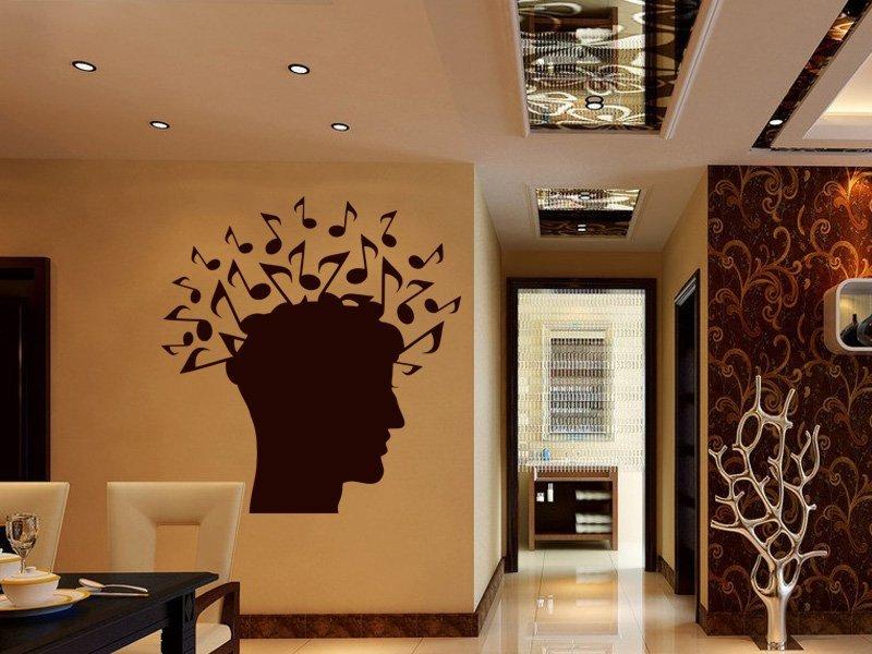 Samolepky na zeď Hlava s notami 001 - Samolepící dekorace a nálepka na stěnu