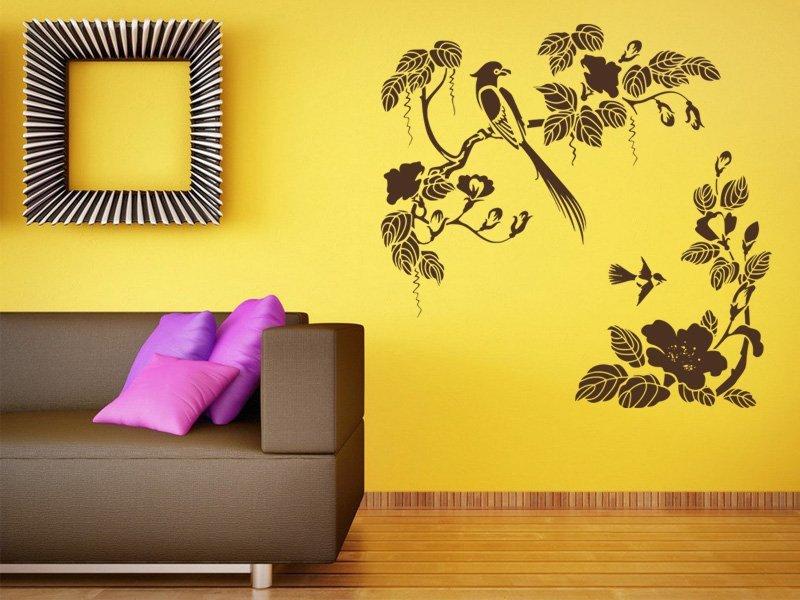 Samolepky na zeď Větev s ptáky 008 - Samolepící dekorace a nálepka na stěnu