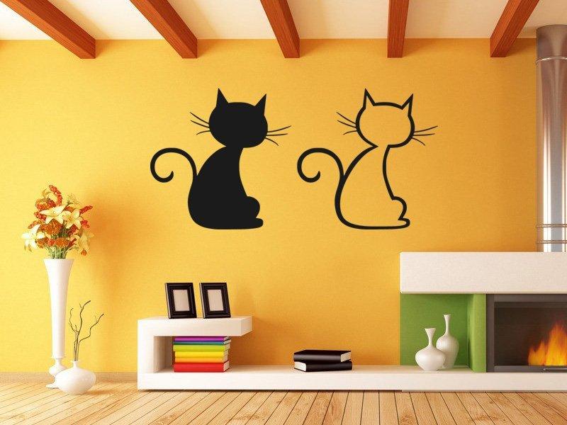 Samolepky na zeď Dvě kočky 0440 - Samolepící dekorace a nálepka na stěnu