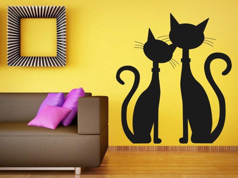 Samolepky na zeď Dvě kočky 0449 - Samolepící dekorace a nálepka na stěnu